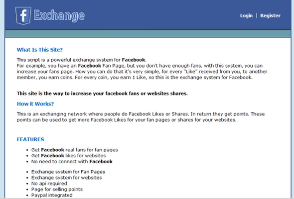 Pay for Facebook Exchange Script - Fanpage Like Script