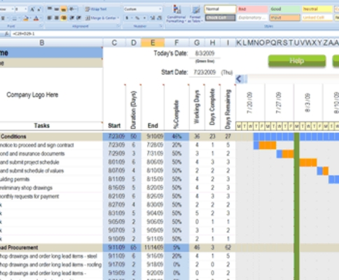 Pay for Calendario de Construcción de plantilla de Excel