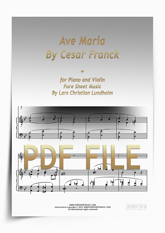 Thumbnail Ave Maria By Cesar Franck for Piano and Violin (PDF file), Pure Sheet Music arranged by Lars Christian Lundholm