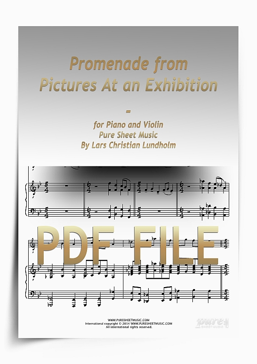 Thumbnail Promenade from Pictures At an Exhibition for Piano and Violin (PDF file), Pure Sheet Music arranged by Lars Christian Lundholm