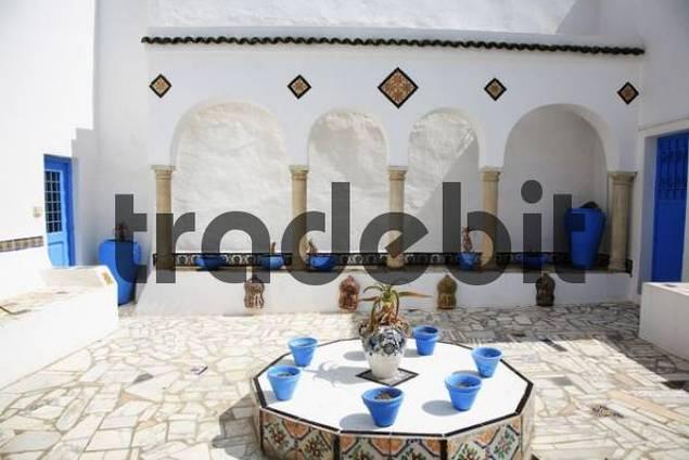 Inner courtyard of a house in Sidi Bou Said, Tunisia