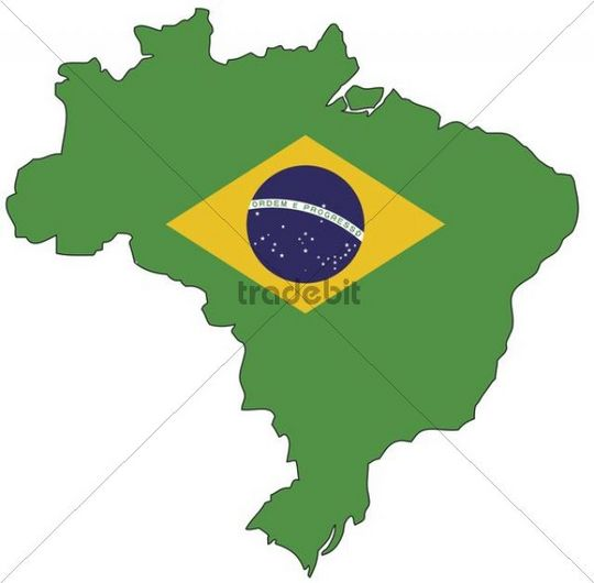 Brasilien, Flagge, Umriss
