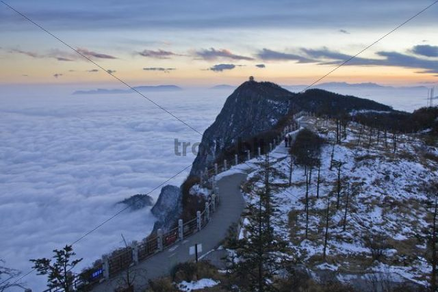 Sunrise at Mount Emei, Jinding temple in the distance, Sichuan province, China, Asia