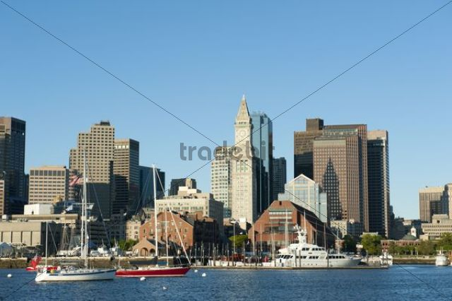 Skyline with Custom House Tower, Financial District, Long Wharf, view from Boston Harbour, Boston, Massachusetts, New England, USA, North America