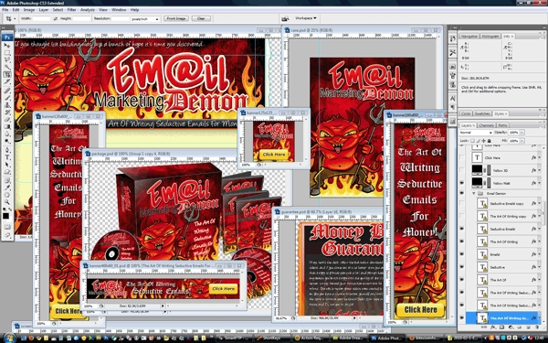 Pay for Email Marketing Demon Minisite Web Templates PSD Graphics